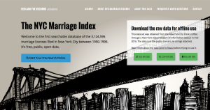 Screenshot of www.NYCMarriageIndex.com