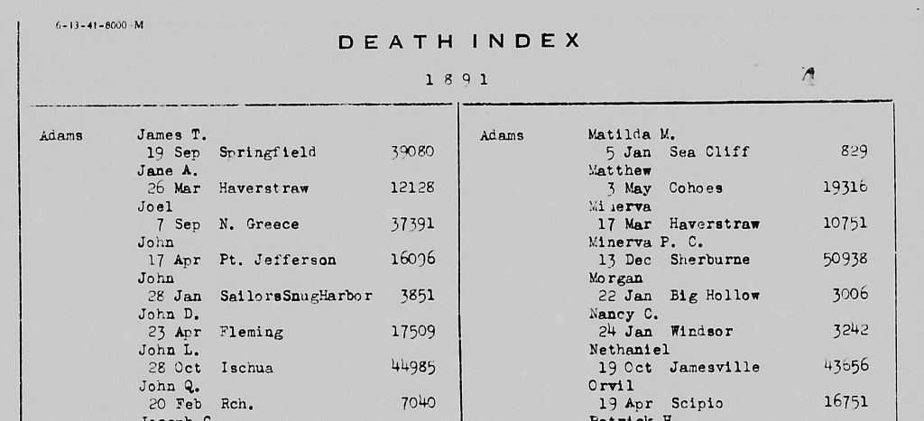 New York State death index - image #1 of 2