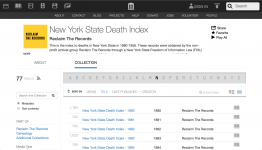 Screenshot of the New York State Death Index at the Internet Archive
