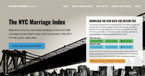 Screenshot of NYCMarriageIndex.com
