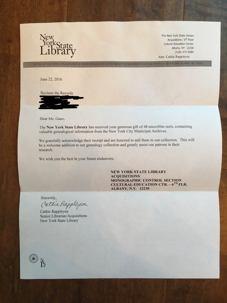 Thank You letter from the New York State Library
