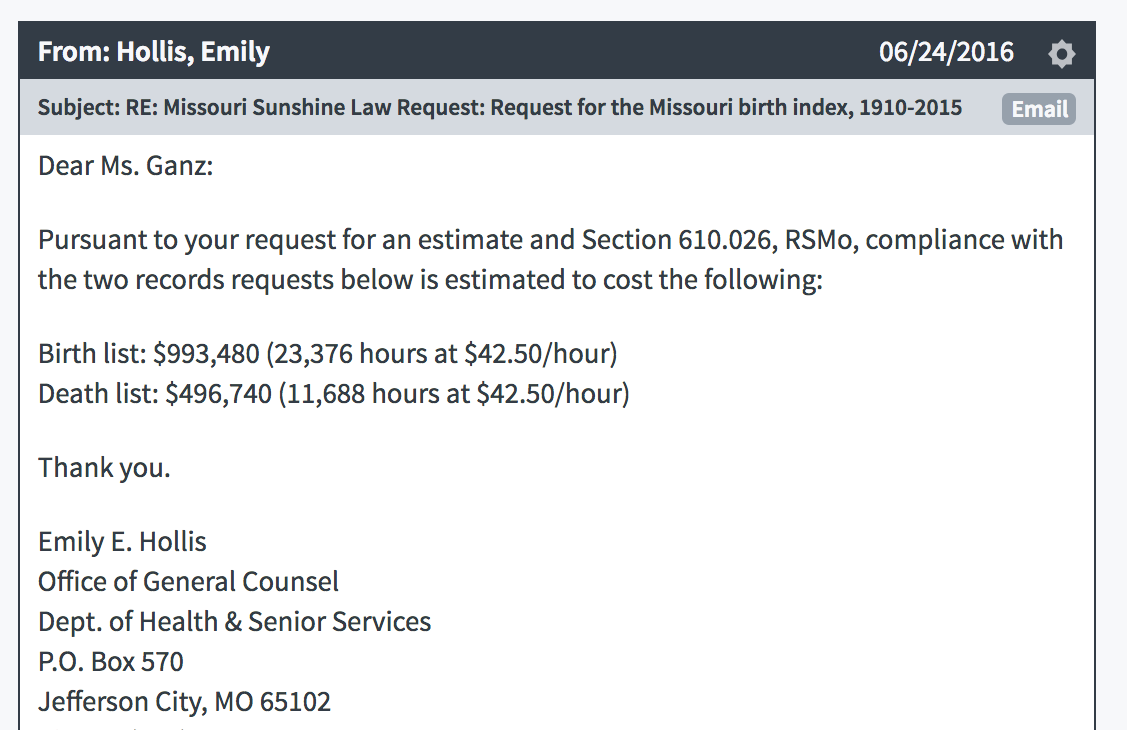 Screenshot of the initial cost estimate for our two Sunshine Law requests