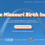 Screenshot of the Missouri Birth Index website