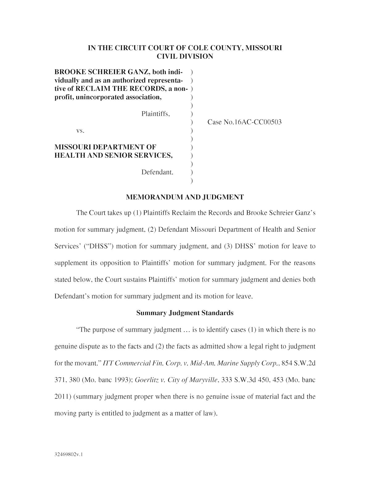 Judge's order for Summary Judgment (April 15, 2020)