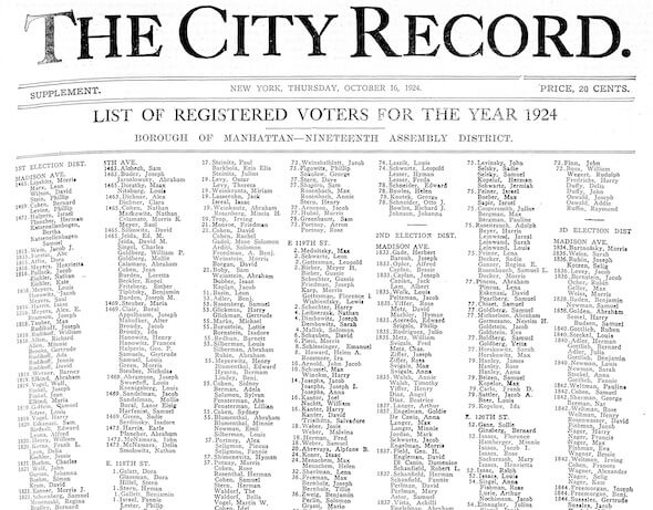 List of Registered Voters, 1924