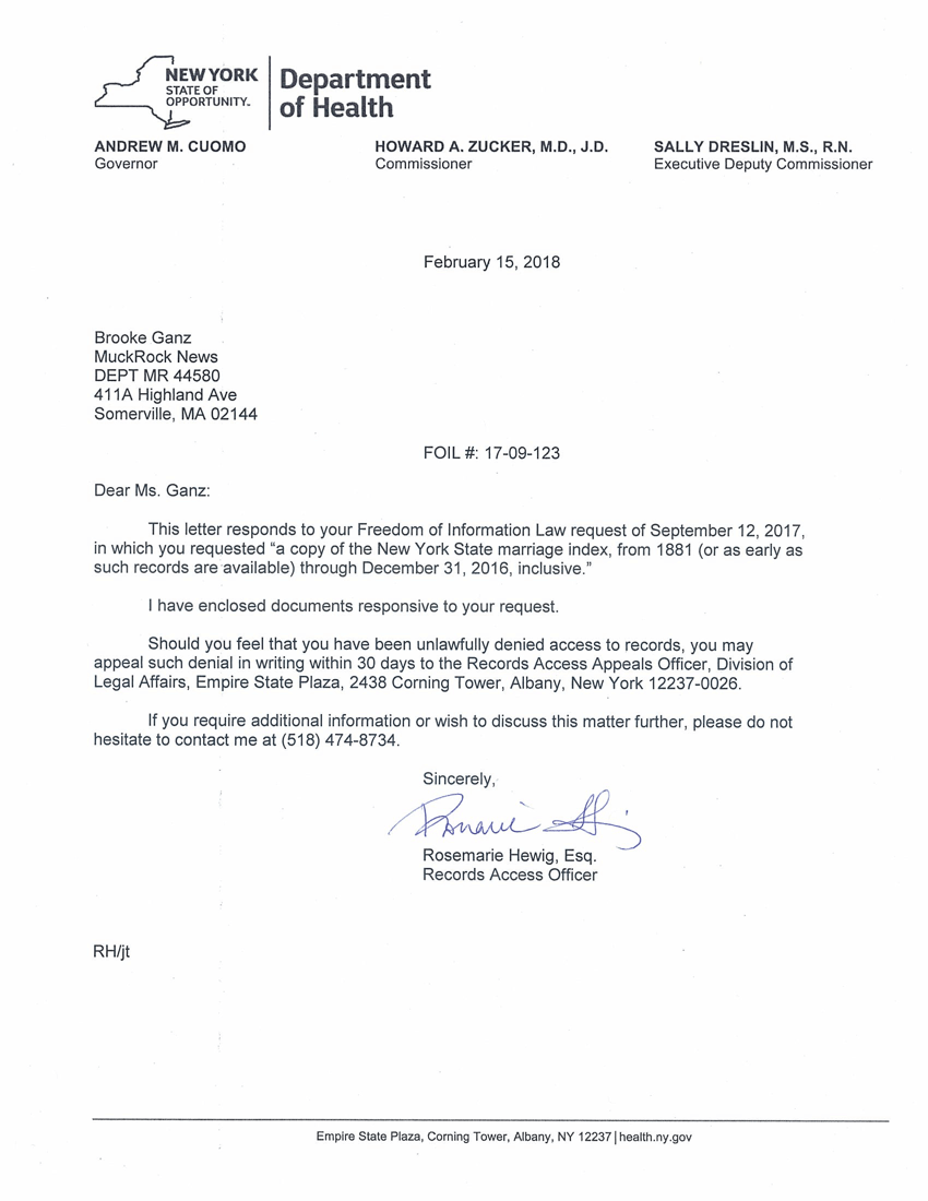 Initial FOIL response from the NYS DOH (February 15, 2018)
