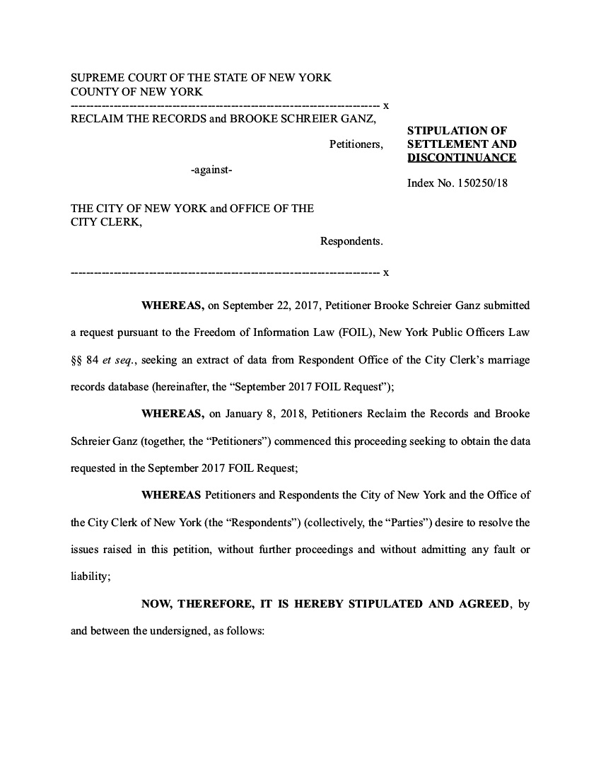 Stipulation of Settlement from New York City, received April 27, 2018