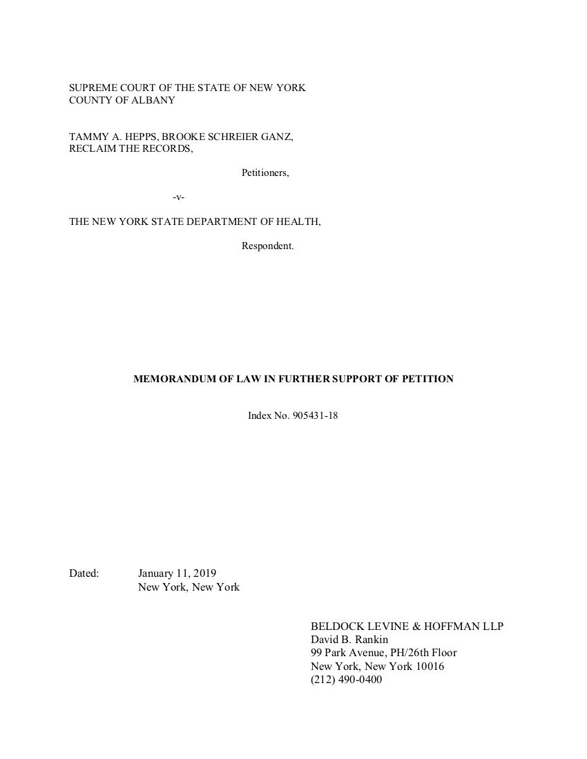 Memorandum of Law from RTR (January 11, 2019)