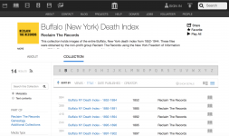 Screenshot of the Buffalo Death Index online at the Internet Archive
