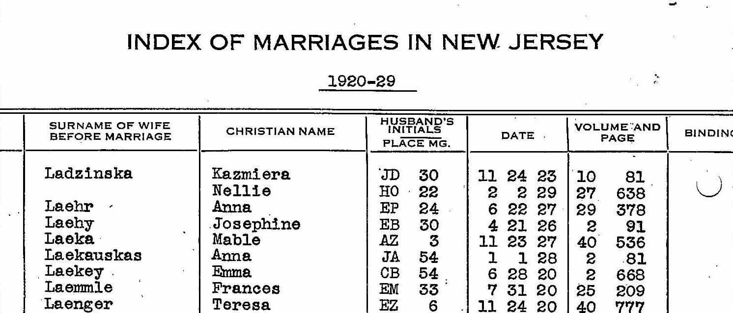 New Jersey Marriage Index, 1901-2016 | Reclaim The Records