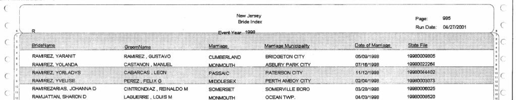 Reclaim The Records - New Jersey Marriage Index - example #5