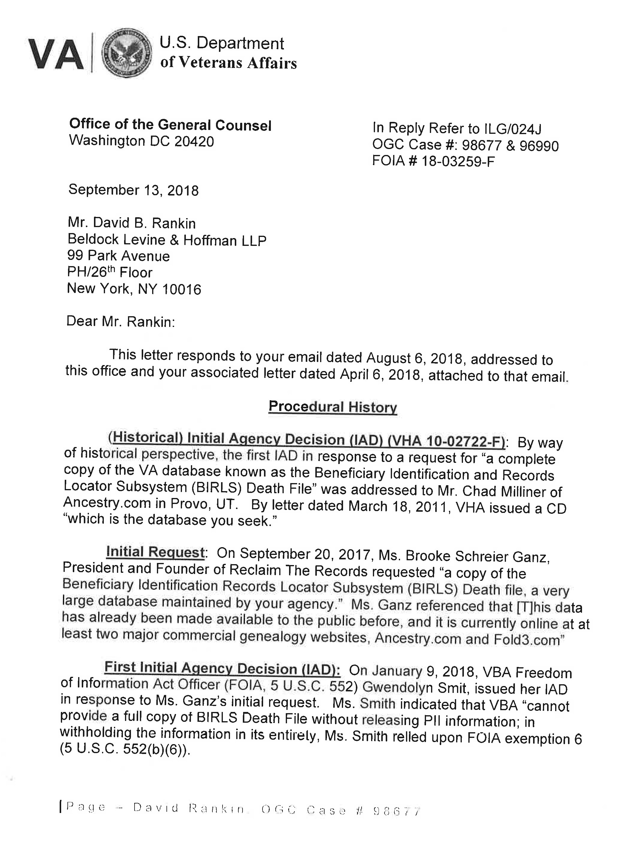 Response to FOIA lawsuit from the VA