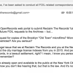 Reclaim The Records vs. NYC Municipal Archives - Brooklyn (Kings County) 'Old Town' records
