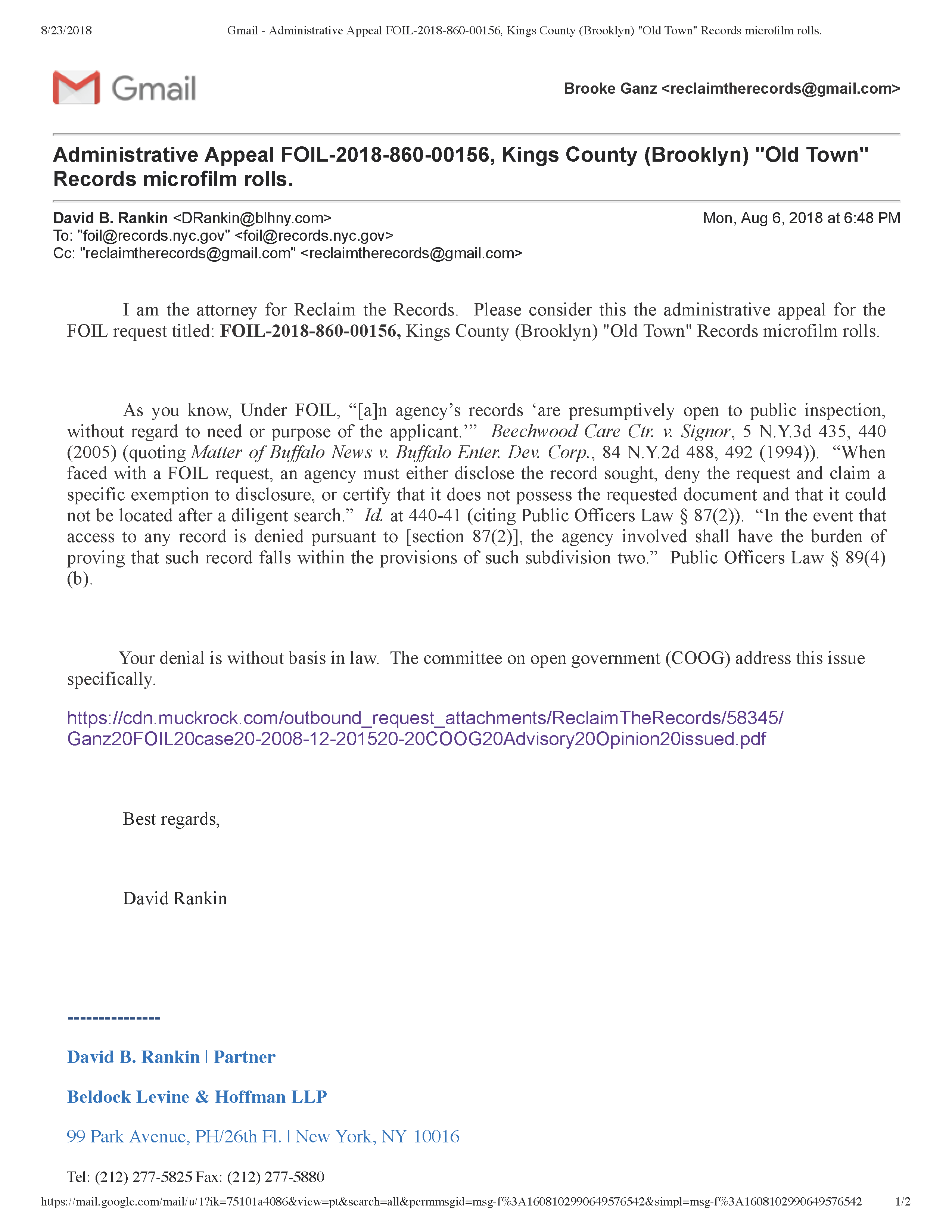 FOIL Appeal - August 6, 2018 (PDF)
