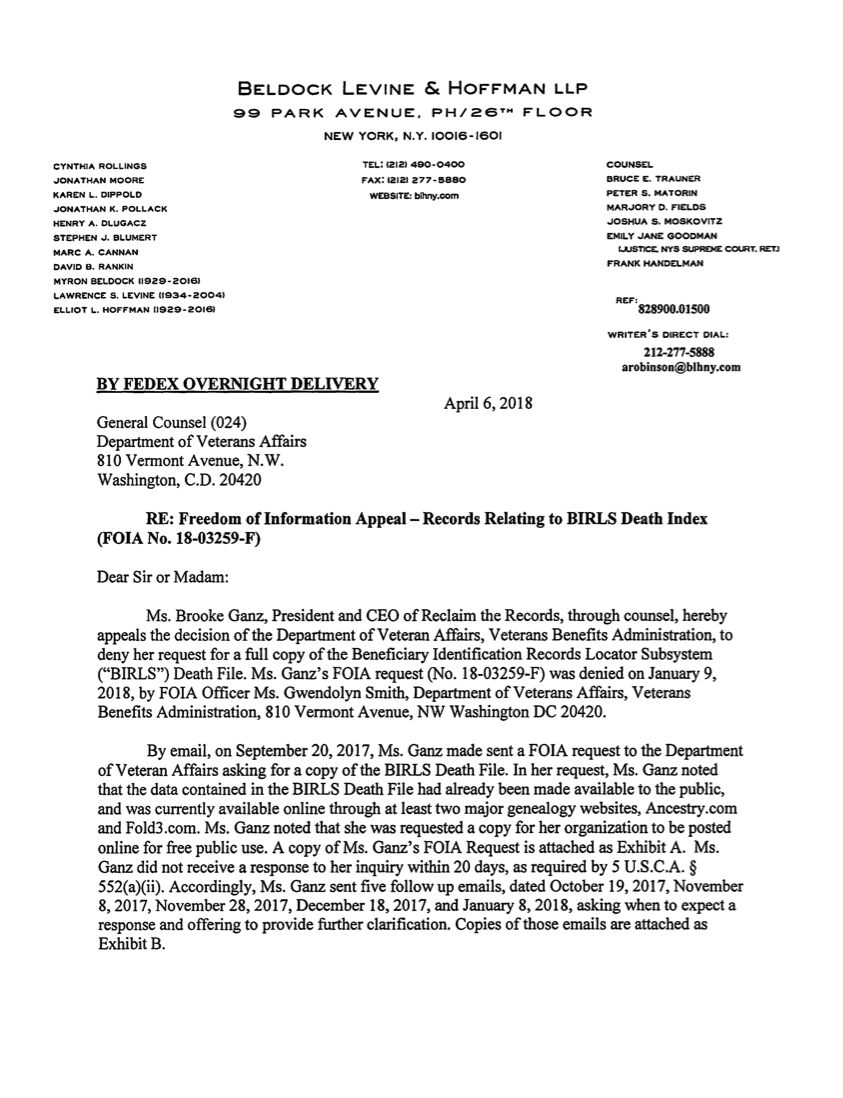 Reclaim The Records vs Veterans Affairs - FOIA Appeal (April 6, 2018)