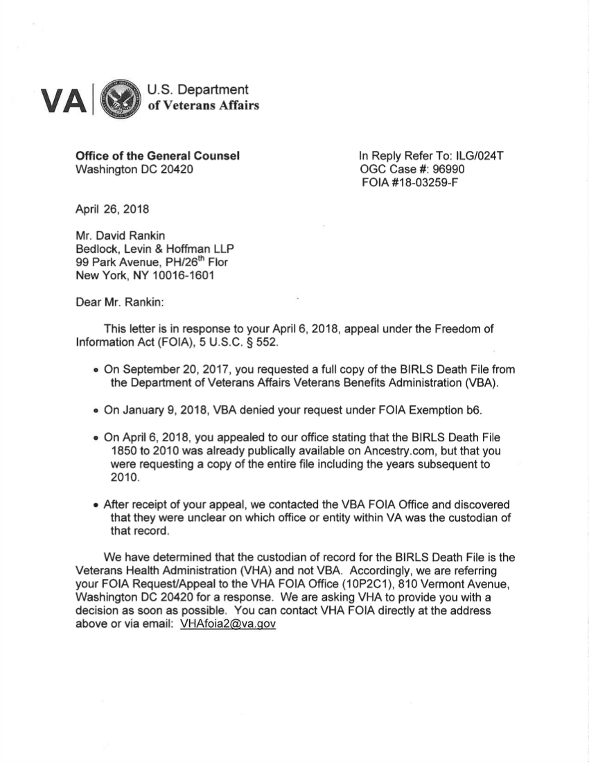 Letter from the VA (April 26, 2018)