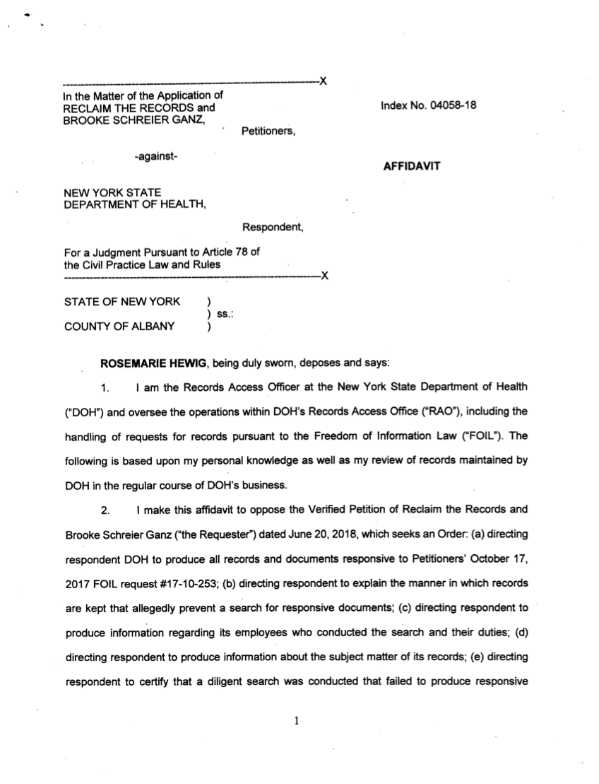 Response from NYS DOH - Affidavit from Hewig