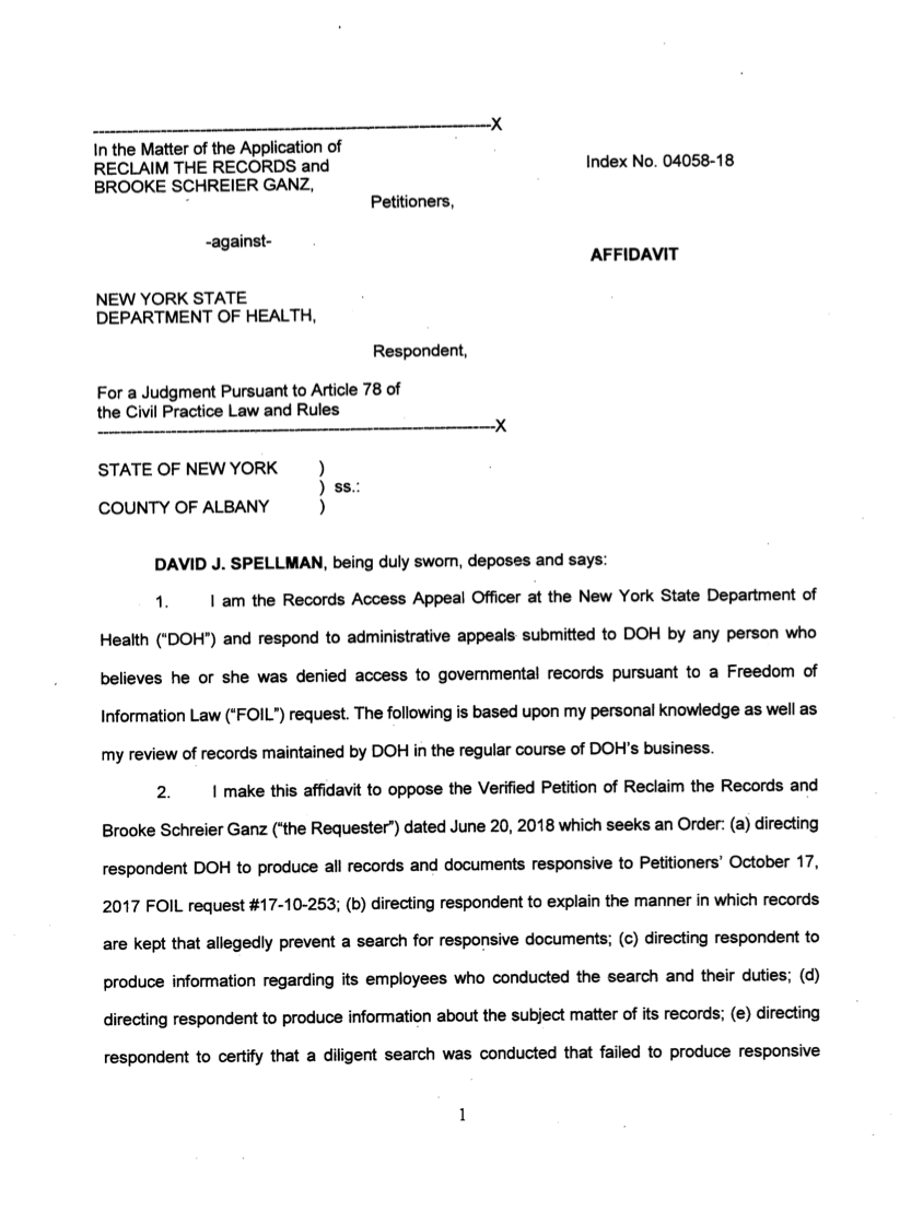 Response from NYS DOH - Affidavit from Spellman