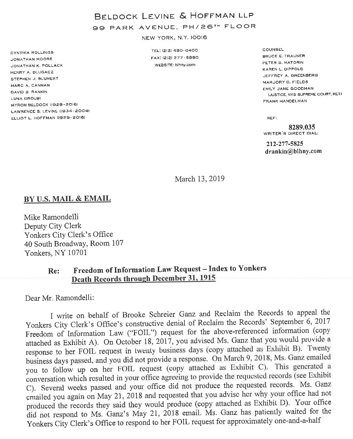 FOIL Appeal Letter (March 13, 2019)