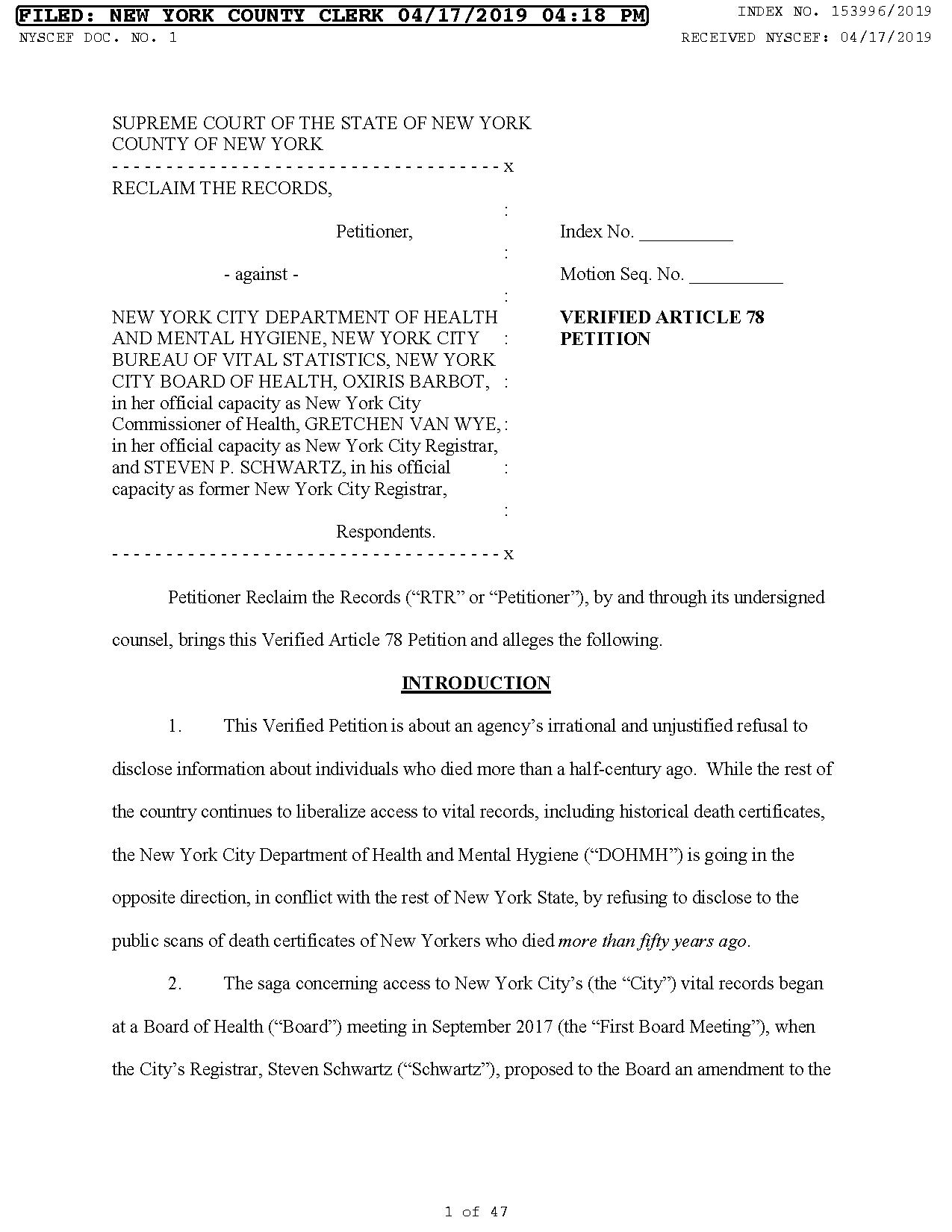 Article 78 Petition (Lawsuit)