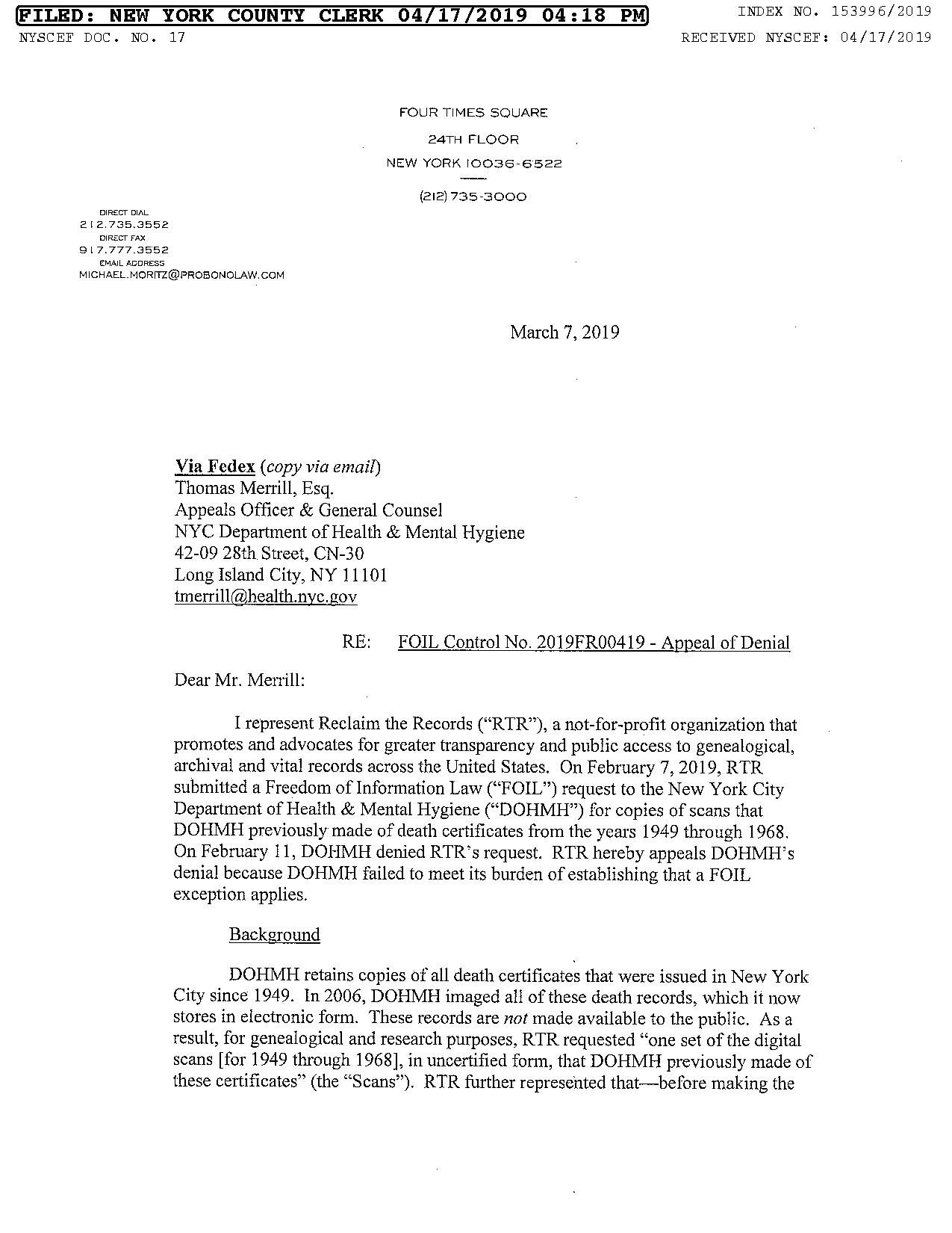 Appeal of their FOIL denial