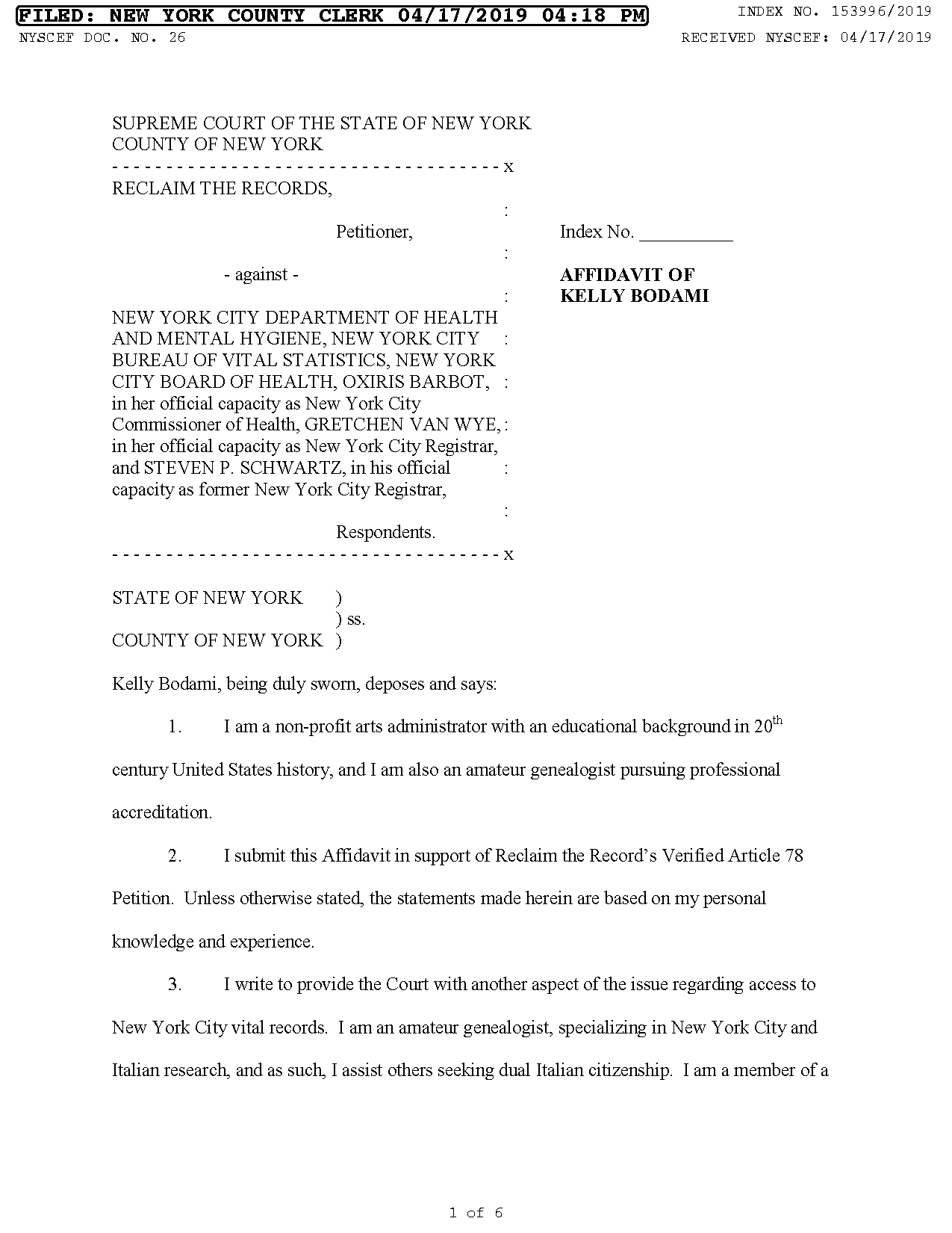 Affidavit #4 - Kelly Bodami, on the NYC DOH blocking people from their lawfully entitled citizenship