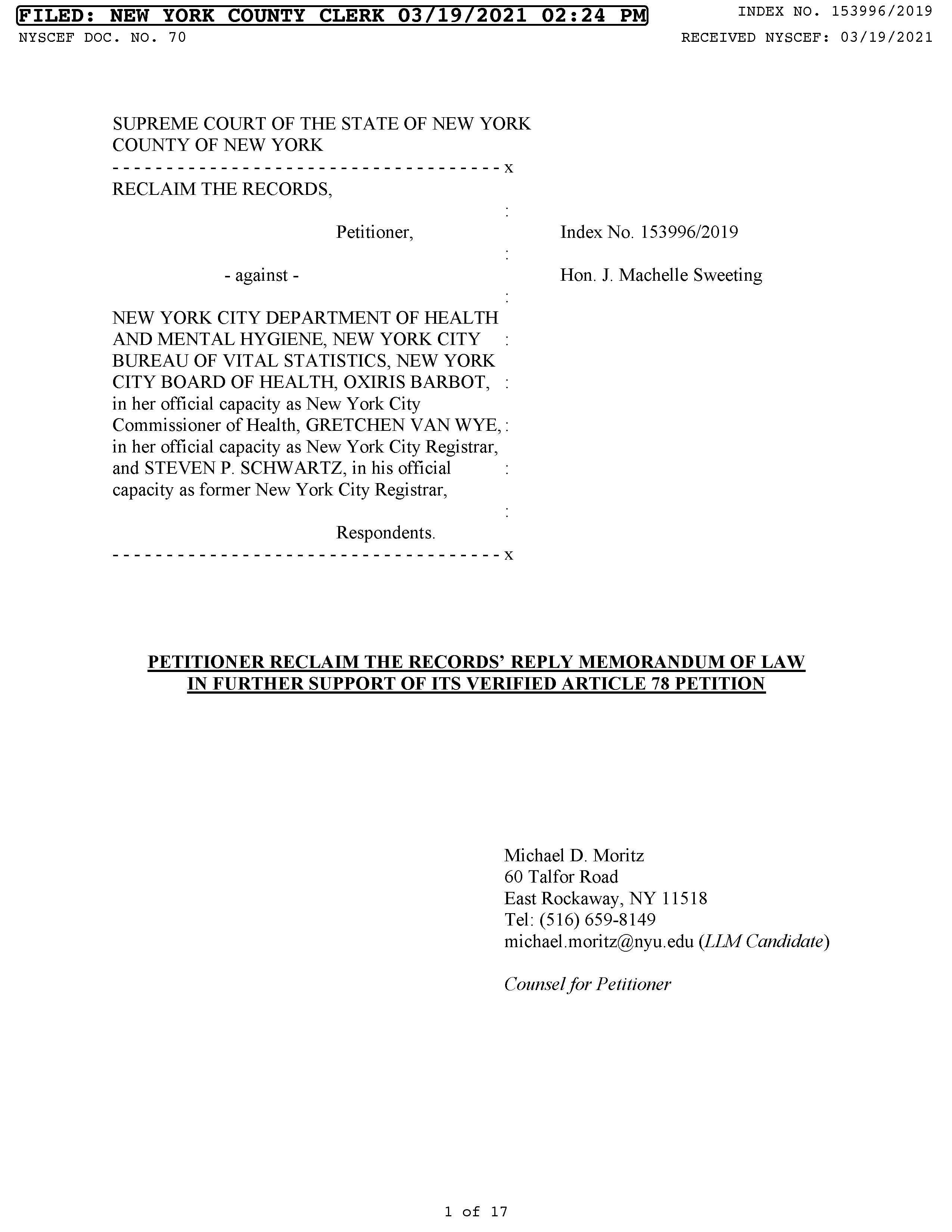 Our Memorandum of Law In Further Support of Our Petition (March 19, 2021)