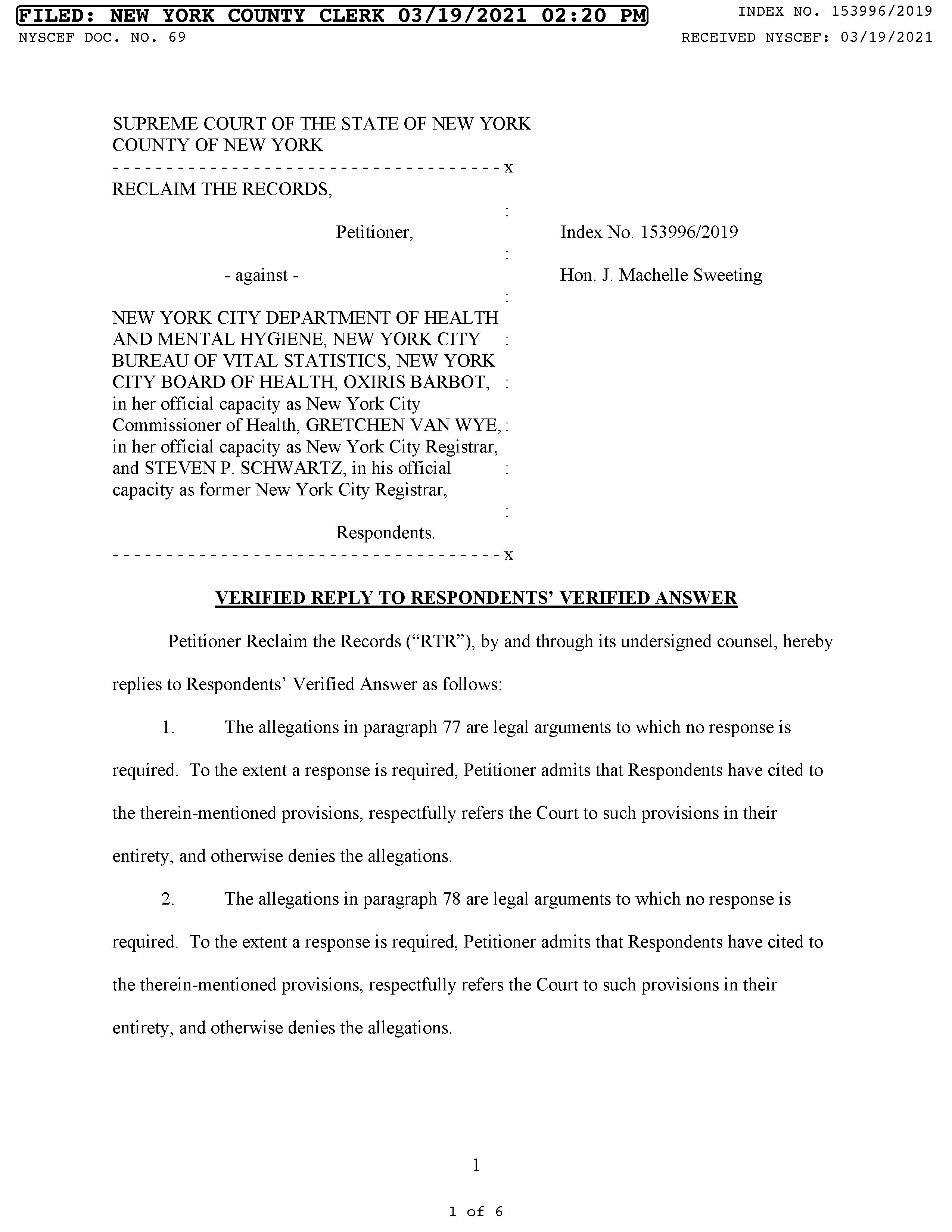 RTR's Verified Reply to the City (March 19, 2021)