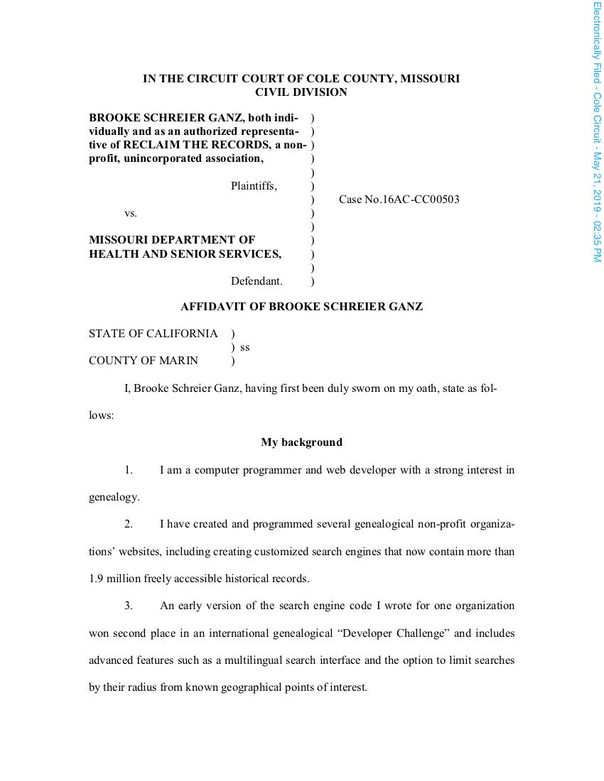 Affidavit of Brooke Schreier Ganz (May 21, 2019)
