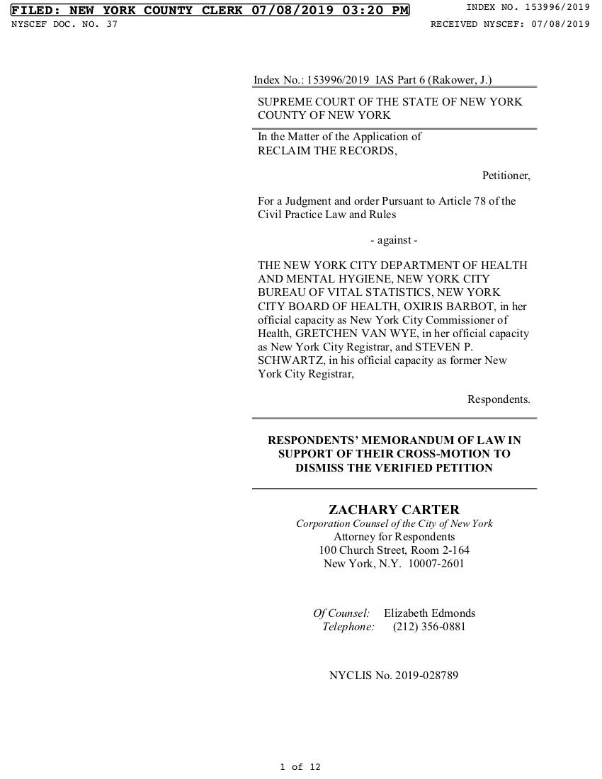 The City's Motion to Dismiss (July 8, 2019)