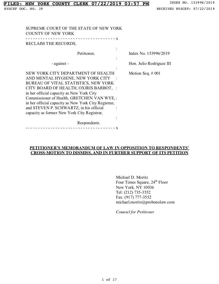 Memorandum of Law in Opposition to the City's Motion to Dismiss (July 22, 2019)