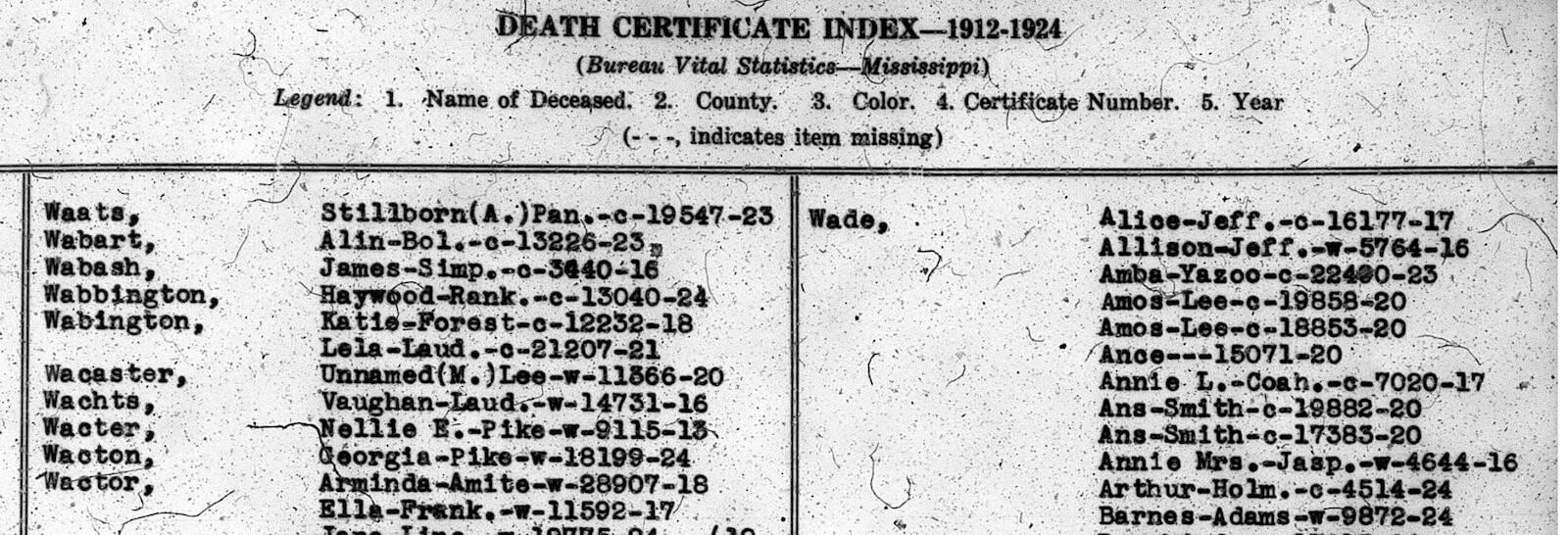 The Mississippi State Death Index 1912 1943 Reclaim The