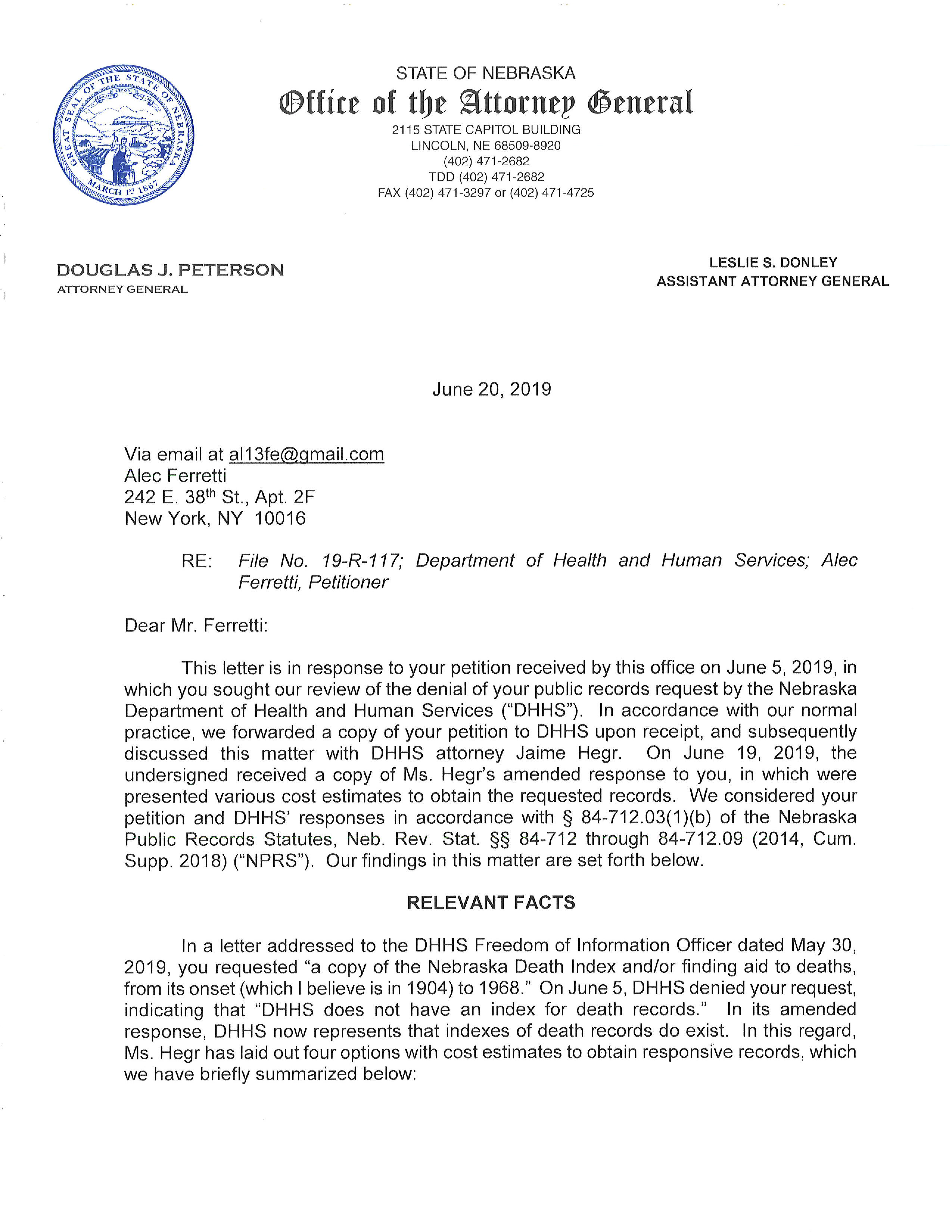 Approval of Appeal from the Nebraska Attorney General's Office (June 20, 2019)