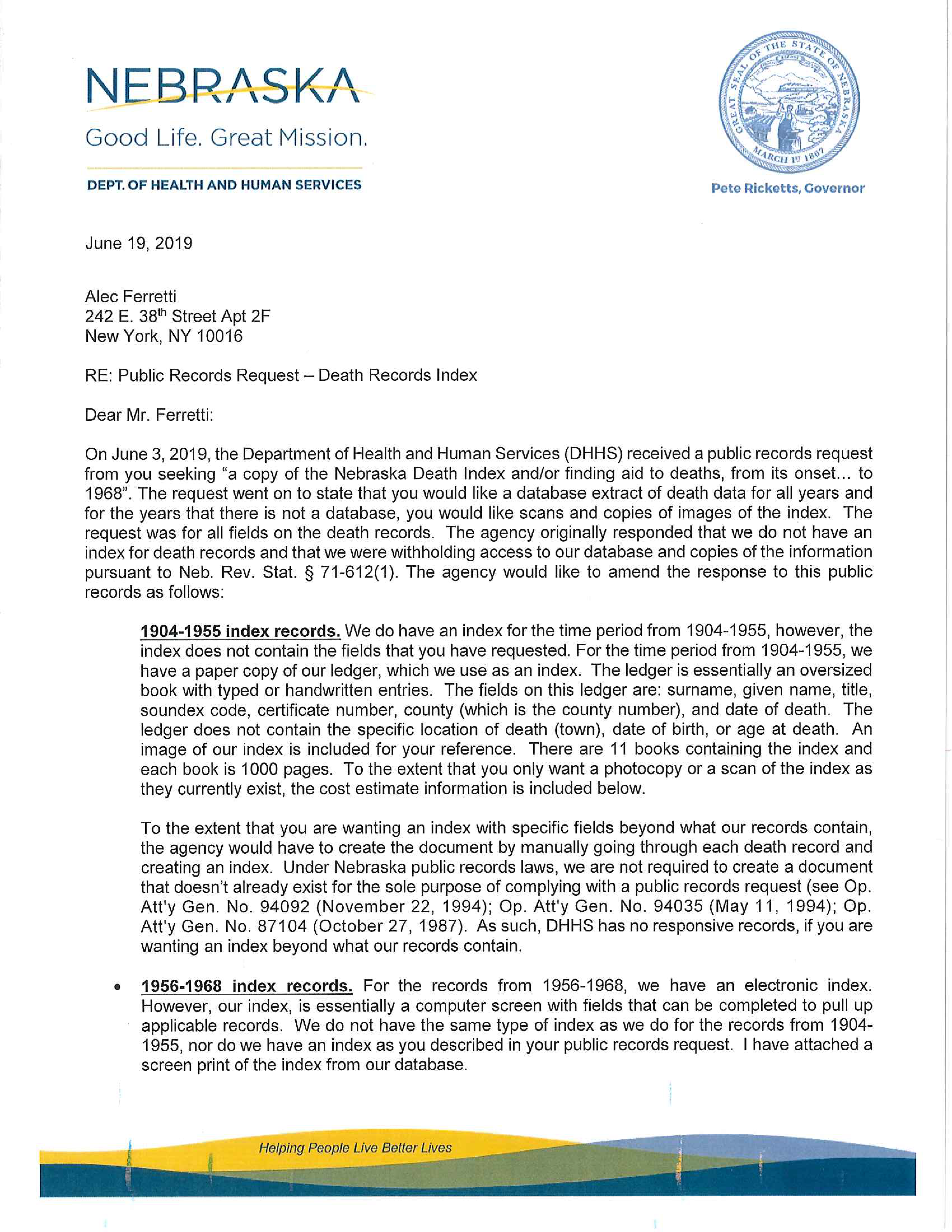 Nebraska DHSS Acceptance of Request (June 19, 2019)