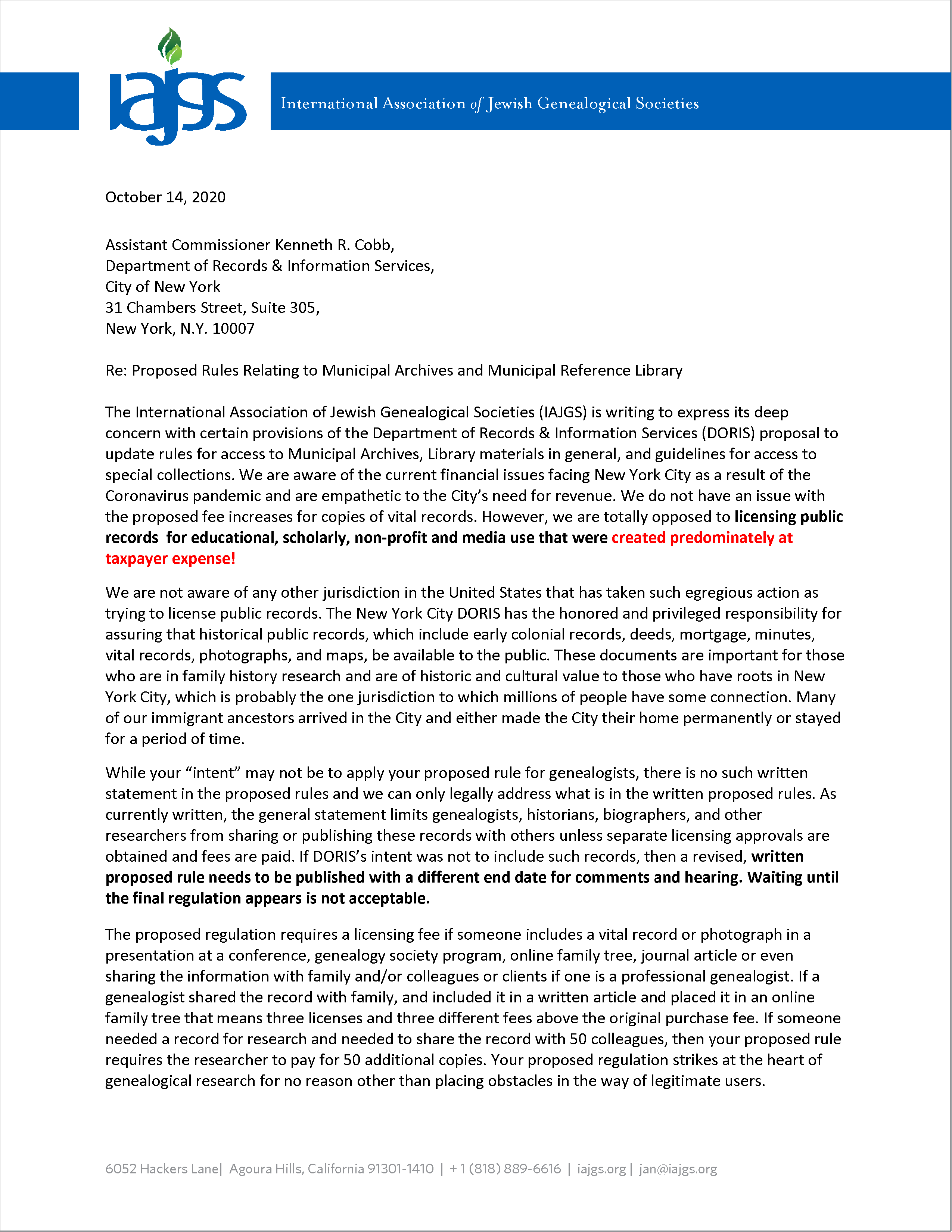 IAJGS' letter (October 14, 2020)